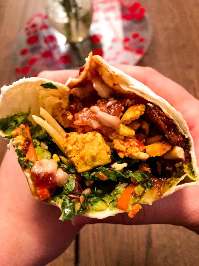 Vegan Bacon and Egg Wrap
